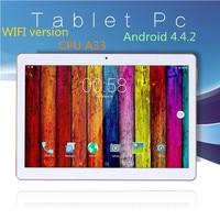 O envio gratuito de 10 polegada android tablet touch screen wifi Tablets pc wi-fi Quad core Câmera Dupla 16 GB Android 4.4 9 10 polegada tablet