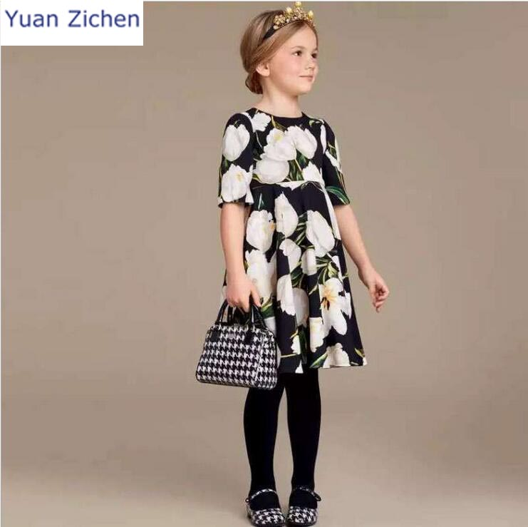 Children Dress Eveving Party Girls  Clothes 2018 New Summer Print Flowers Half Sleeve Princess for Girls Clothing Infant Dresses muqgew new fashion 2018 children party