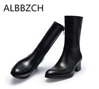 Осень Зима Новый высокое Ботинки мужчин 5 см каблуки с круглым носком молния дизайн мужские бизнес платье рабочие ботинки В рыцарском стиле