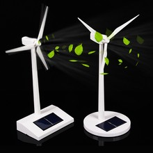 Solar Windmill Model Toys Plastic Assembled Model 3D Puzzle Solar Powered Rotating Base Desktop Model-Solar Powered Windmills