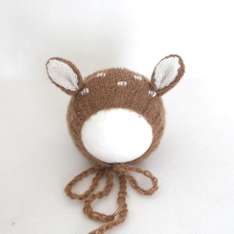 Tan Color Christmas Newborn Mohair Reindeer bonnet Baby girl Deer hat Photography props