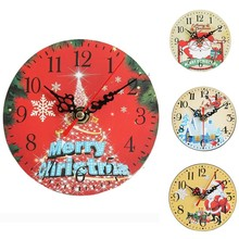 Christmas Decor Table Clock Europe Vintage Wall Living Room Silent Mechanism New Year Gifts Home