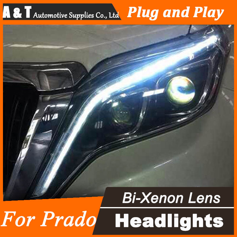 Car Styling For Toyota Prado Headlights New Prado LED Headlight DRL Lens Double Beam H7 HID Xenon bi xenon lens headlight. hireno headlamp for 2012 2016 mazda cx 5 headlight headlight assembly led drl angel lens double beam hid xenon 2pcs