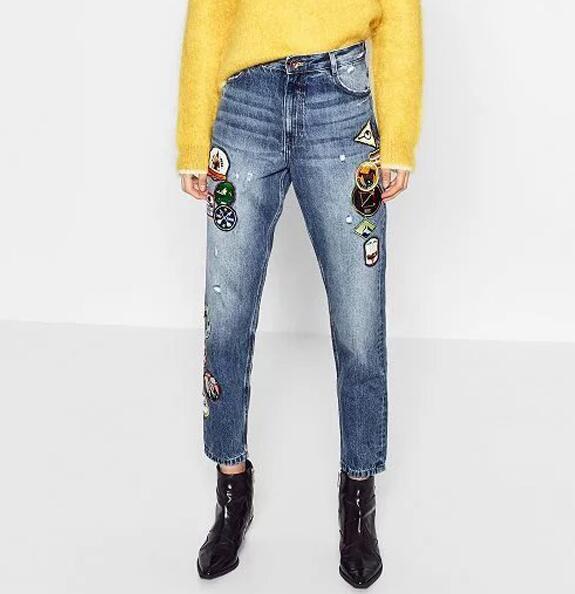 fe28d91f20a 2017ss женские укороченные мило патч Джинсы для женщин Mid Rise карманы  спереди и сзади модные джинсовые узкие лодыжки Длина Мотобрюки купить на  AliExpress
