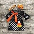 2016 НОВОРОЖДЕННЫХ девочек Хэллоуин платье платье партии дети конфеты кукурузы платье дети горошек платье с ожерельем и луки наборы