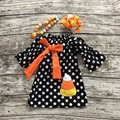 2016 BABY  girls Halloween dress party dress children candy corn dress kids polka dot dress with necklace and bows sets