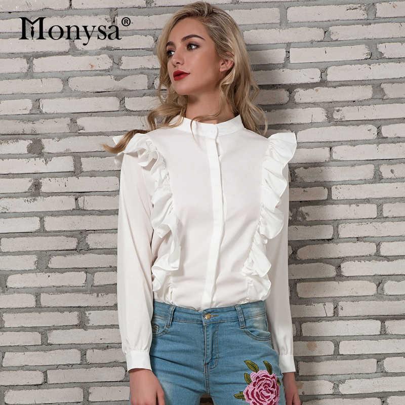 807316e45e082ea Блузка с рюшами Для женщин Весна 2018 Новое поступление рубашка с длинными  рукавами Дамы Стенд воротник