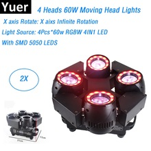 2Pcs/Lot LED Moving Head Lights RGBW Quad Color 4X60W Beam Perfect For Mobile DJ Party Nightclubs Fast Shipping