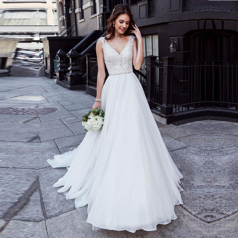 A Line Chiffon Wedding Dress 2019 Appliques Lace V Neck Vestidos De Novia Bride Dress Sleeveless Sexy Backless Wedding Gowns