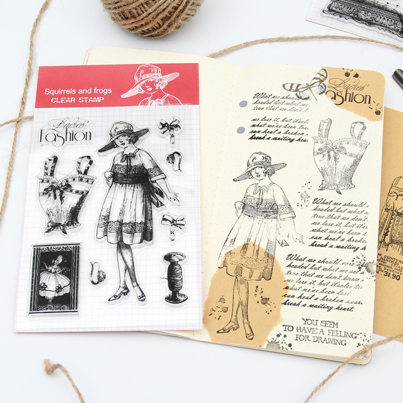 Vintage Couture Fashion Lady Clear Silicone Stamps Seal Cling Diary Scrapbooking DIY Album Card Making Photo Paper Decor Craft scrapbook diy photo album account transparent leaf silicone rubber clear stamp seal cling set scrapbooking craft diary card