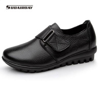 Plus Size 35 To 42 43 Women Leather Flat Shoes Soft Bottom Mother Shoes Comfort Casual
