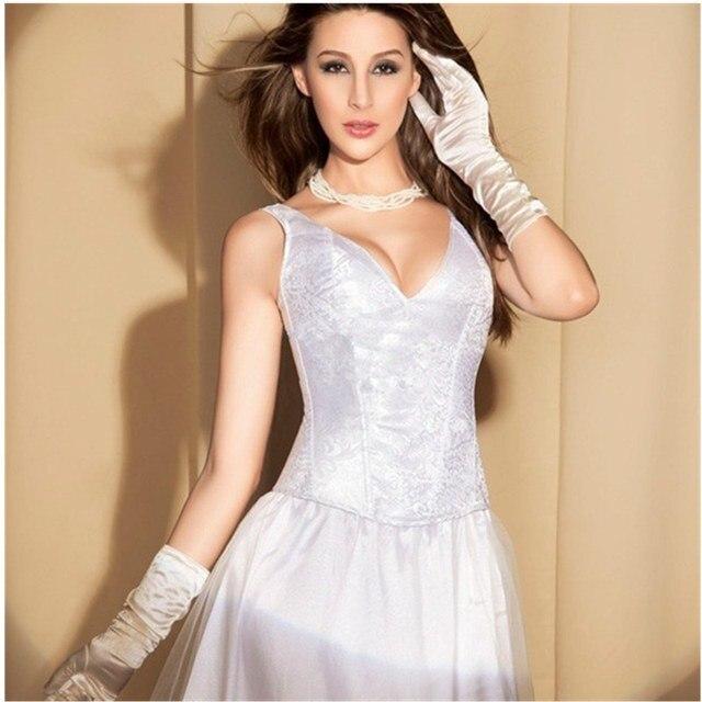 Capina vestido de Noiva Profundo Decote Em V Bordado Padrão Corset Com Cinta Larga Lace up Desossado Overbust Corset Bustier Top Outfit W45105