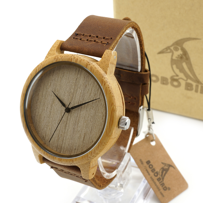BOBO BIRD A19 Mens Wooden Watch Plain Wood Dial Bamboo Case Quartz watch with Leather Strap