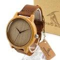 Bobo bird a19 mens mostrador do relógio de madeira simples de madeira de bambu caso relógio de Quartzo-relógio com Pulseira De Couro na Caixa de Presente horloges mannen 2016