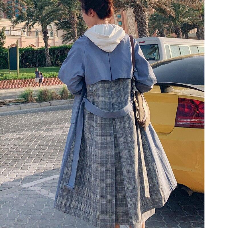 LANMREM 2019 New Spring Korean Fashion Women Striped Patchwork Windbreaker Turn-down Collar Full Sleeves Casual Long Coat WD837