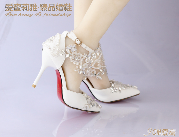 bdd905b655e3ea Pointed toe Lace pearl Rhinestone ultra High Heels Wedding Shoes female  Sandals Bridal Shoes 9CM Thin Heel women Sandals-in Women s Sandals from  Shoes on ...