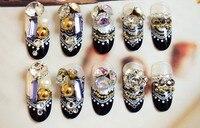 24 כלה מלאכותית יח'\סט ציפורני False 3D, טיפים ציפורניים מזויפים אצבע צרפתית יהלומי חתונה