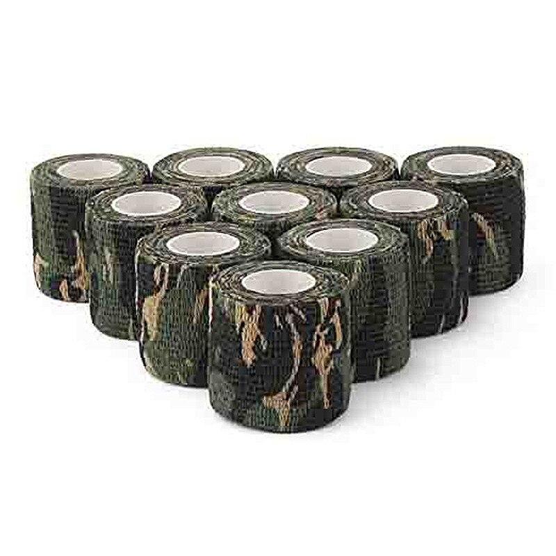 10 Pcs Camouflage Tapes Tactical Flashlight Knife Bandage 5CM * 450CM Self-adhesive Non-woven Natural Latex Camo Stretch Bandage цена