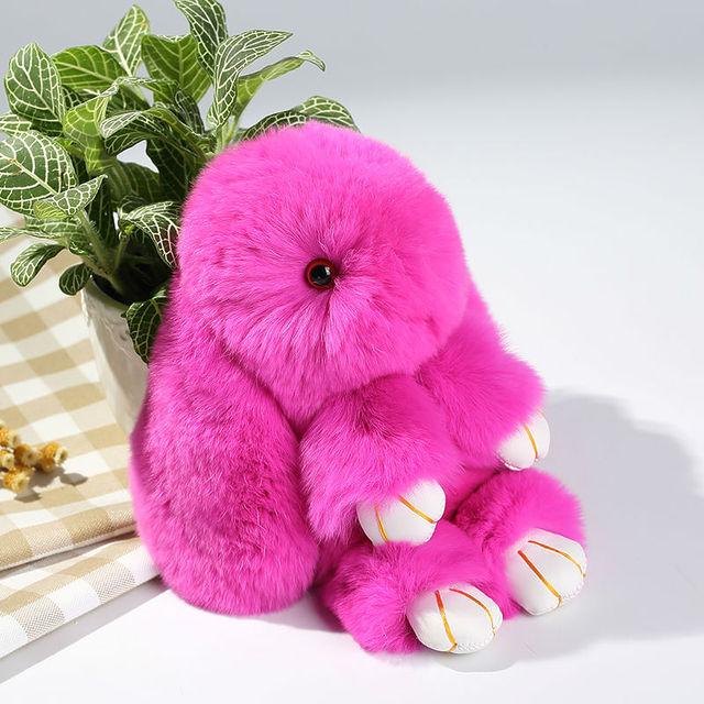 Venta de la fábrica de piel de conejo rex tapices bolsas colgante llavero de coche accesorios de regalo promocional del envío libre alrededor de 15 cm