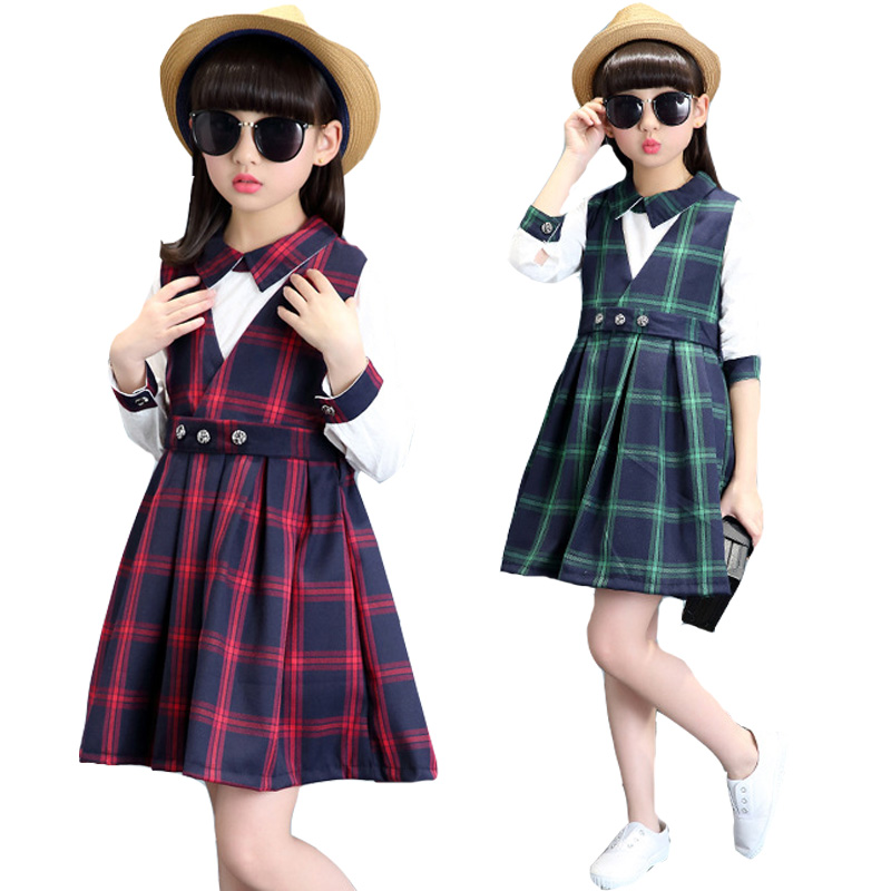 Girls Clothing Sets Cotton Plaid Outfits For Students School Uniforms 2017 White Blouses For Girls Vests Dresses 2Pcs 4 5 7 9 11