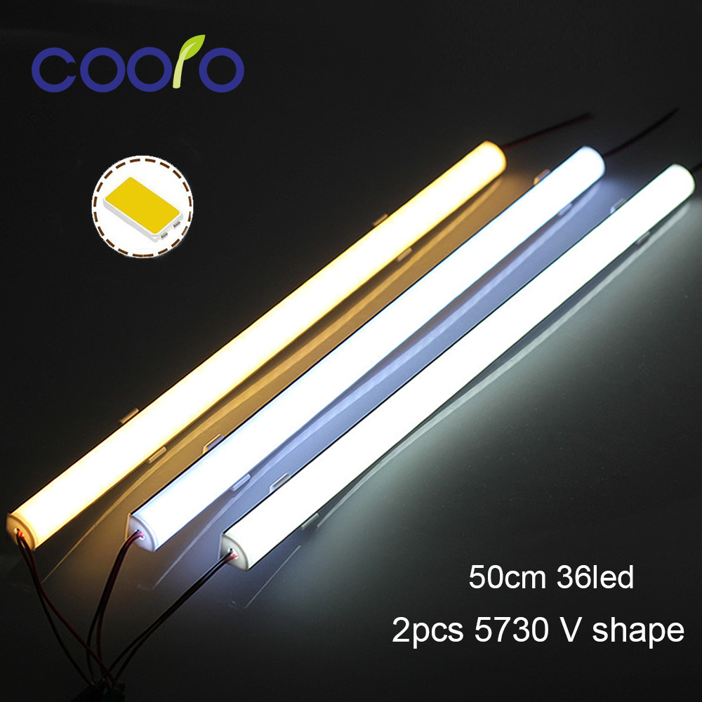 5PCS/Lot 50CM LED Bar Light 5730 V Shape Corner Aluminum Profile With Curved Cover, Wall Corner Light DC12V, LED  Cabinet Light