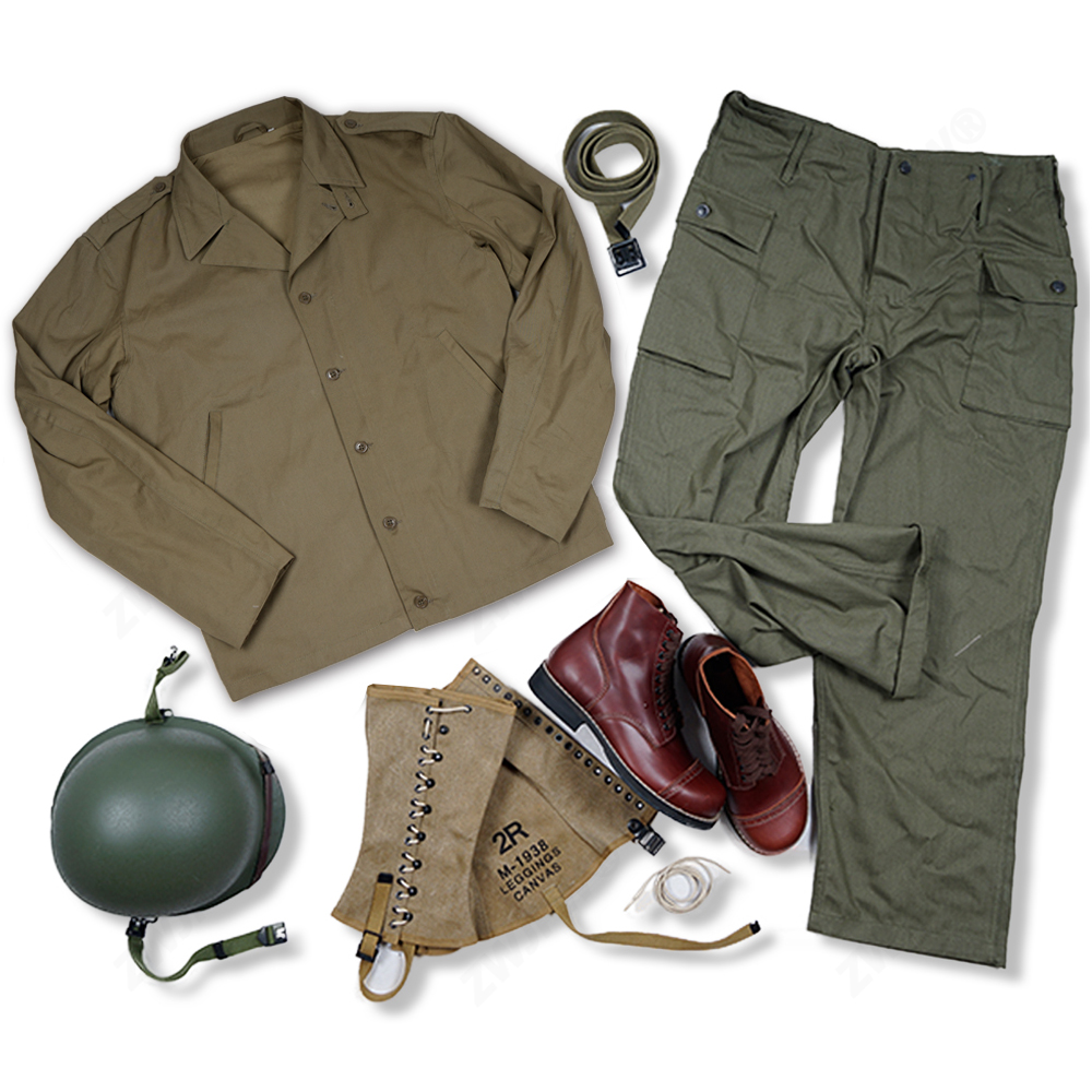 WW2 US ARMY M41 S/S UNIFORM AND M1 HELMET WITH COVER USMC LEGGINGS AND BOOT BELT TOP QUALITY|Climbing Bags| |  - title=
