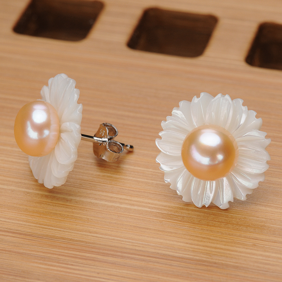 Handmade Flower Shell Pink Pearl Earrings for Women 6 7MM Freshwater Pearl Real 925 Silver Stud Earring Fine Jewelry Gifts FEIGE in Earrings from Jewelry Accessories