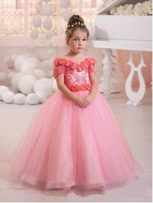 Exquisite Pink Kids Princess First Communication Dress 2017 Little Girls Pageant Dresses With Sash Flower Girl Dresses fancy pink little girls dress long flower girl dress kids ball gown with sash first communion dresses for girls