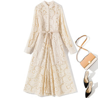 Women 2019 new arrival fall autumn brand lace dress long sleeve button front a line hollow out midi dresses beige