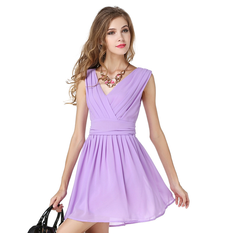 The 2017 Dress Women s New SummerV Neck Sleeveless Chiffon Dress Light  Purple Pleated Empire-in Dresses from Women s Clothing on Aliexpress.com  783c68bd9e