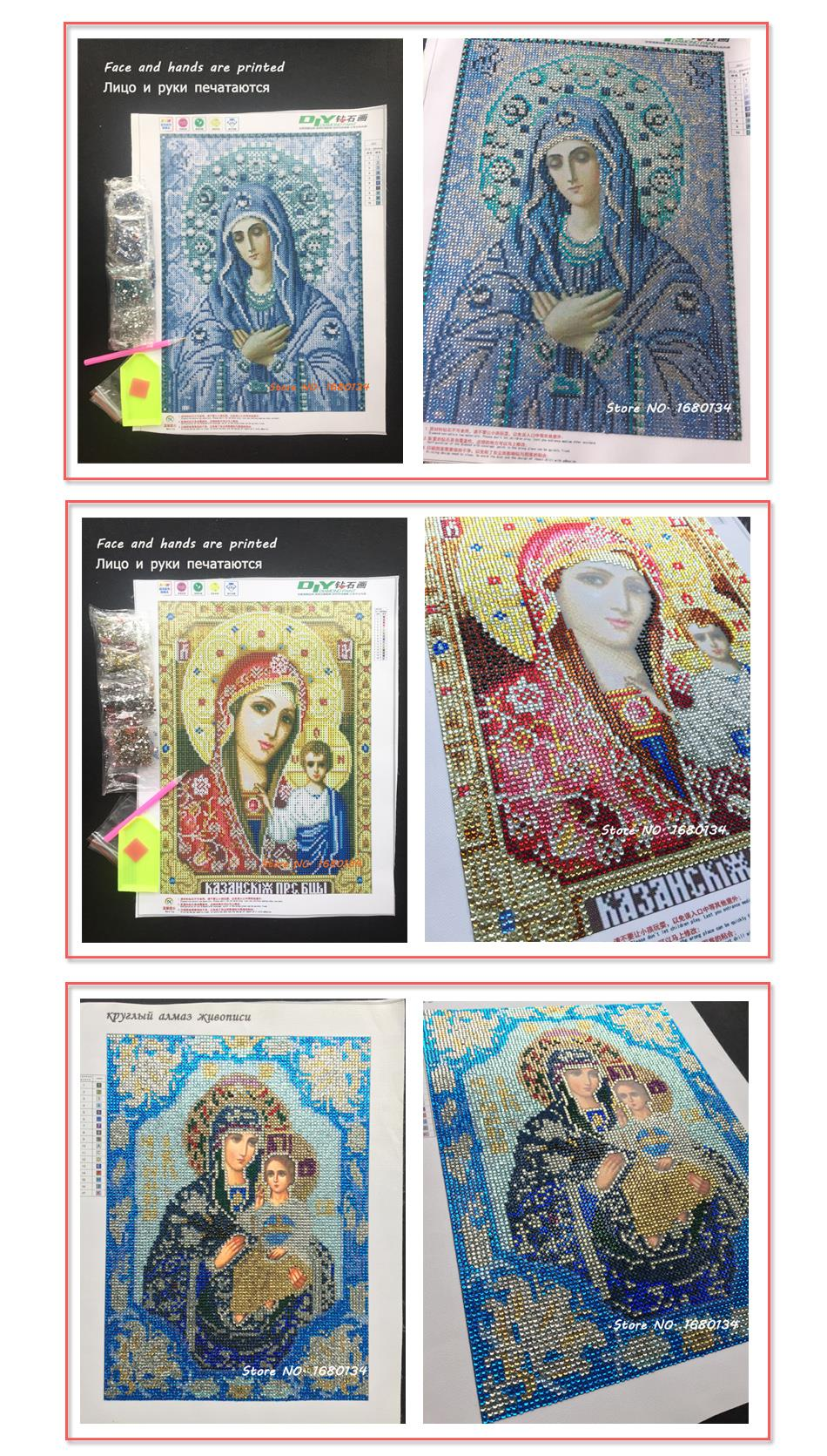DIY 5D Partial Pasting Area diamond embroidery religions religious Icons diamond painting cross stitch 3D round crystal Patterns rhinestones needlework face and hands printed mosaic