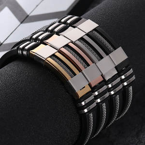 SANGSY 2018 Stainless Steel Black Men Bracelet Charm