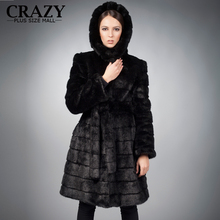 New 2016 X-Long 90cm Plus Size Women Clothing 4XL 5XL Winter Artificial Economy Mink Fur Coat with a Hood Luxury Fake Fur Coats