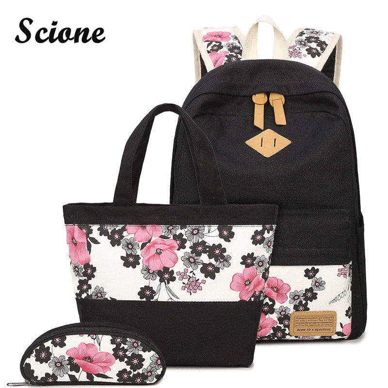 Scione 3PCS Set Canvas Backpack Student Floral School Bags Teenager Bookbags Flower Printing Backpacks with Cute