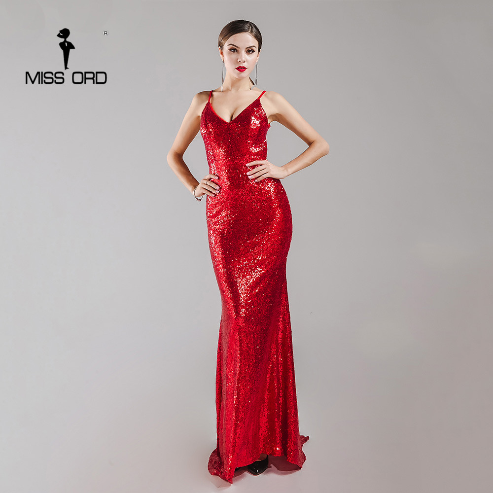 Missord 2017 sexy halter con cuello en v party dress lentejuelas maxi dress ft41