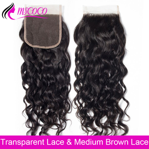 HD Transparent Lace Closure 4X4 Water Wave Swiss Lace 100% Human Hair Closure Free Middle Part Lace Top Closure 8-22 inch Mscoco(China)