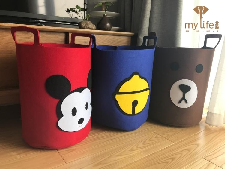 2017 new Toy storage case, baby toy barrel, round Child Large admission basket, cartoon storage bag, wool felt receiver barrel