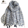 Fashion Geometric Striped Scarf Beach and Street Chic Floral Print Scarves and Shawls Ladies Oversized Tassel Long Wrap