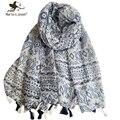 Moda geométrica bufanda a rayas playa y de la calle Chic Floral Print bufandas y chales damas de gran tamaño de la borla larga del abrigo