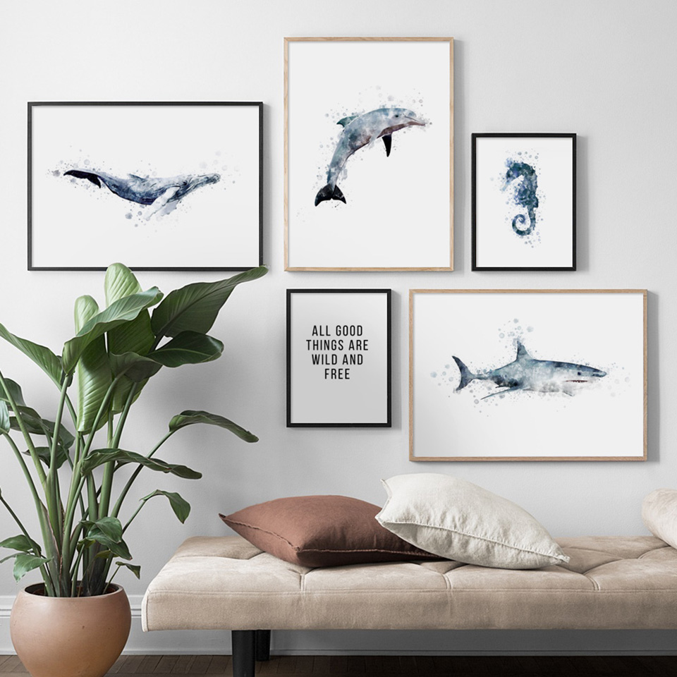 Modern Home Decor Canvas Nordic Style Whales Seahorse