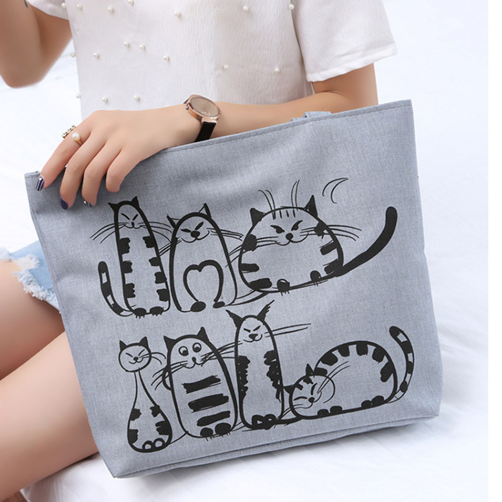 Women Cute Cartoon Cat Print Canvas Shoulder Bag Zipper Casual Tote Shopping Handbag New