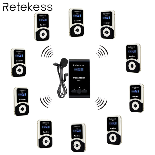 Retekess Wireless Tour Guide System 1 Transmitter+10 Receiver T131+Mic for Tour Guiding Simultaneous Translation Interpretation