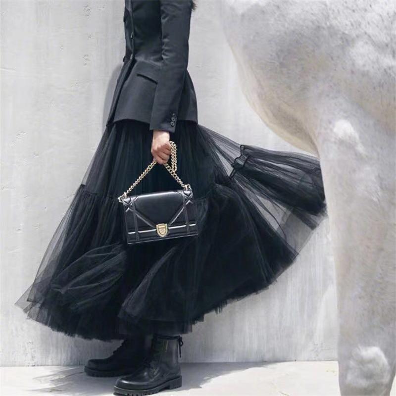 Petticoat Tutu L Tulle Skirt Vintage Midi Pleated Skirts Womens Lolita Bridesmaid Wedding Faldas Mujer Saias Jupe