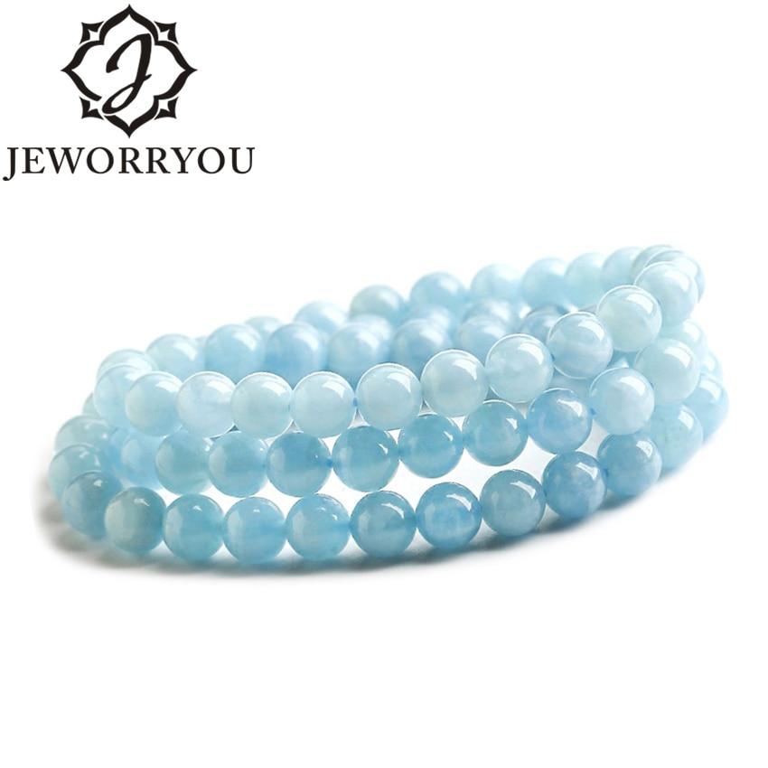 6-8mm Aquamarine Wrap Bracelet Blue Bead Bracelet For Necklace Accessories Women Bracelets For Girls цена