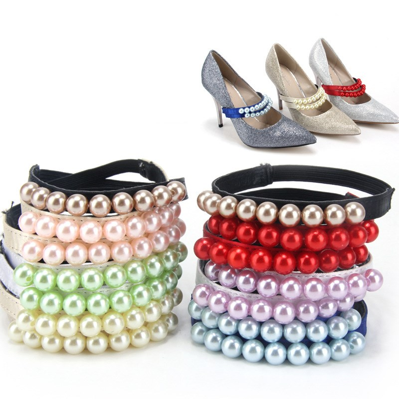 1 Pair Pearl Heels Bands Shoelace, Shoe Accessory Decoration Straps For Women, Shoes Lace For Loose Shoes 7 Color
