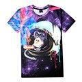 Espaço Astronauta Macaco Chimpanzé de Fumar Charuto Ilustração 3D Imprimir T-shirt de Algodão Unisex Verão Camisetas Homme Adolescente Solto Tops