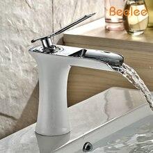 Бесплатная доставка хром и белый цвет водопад ванной кран ванной смеситель с горячей и холодной воды BL6009
