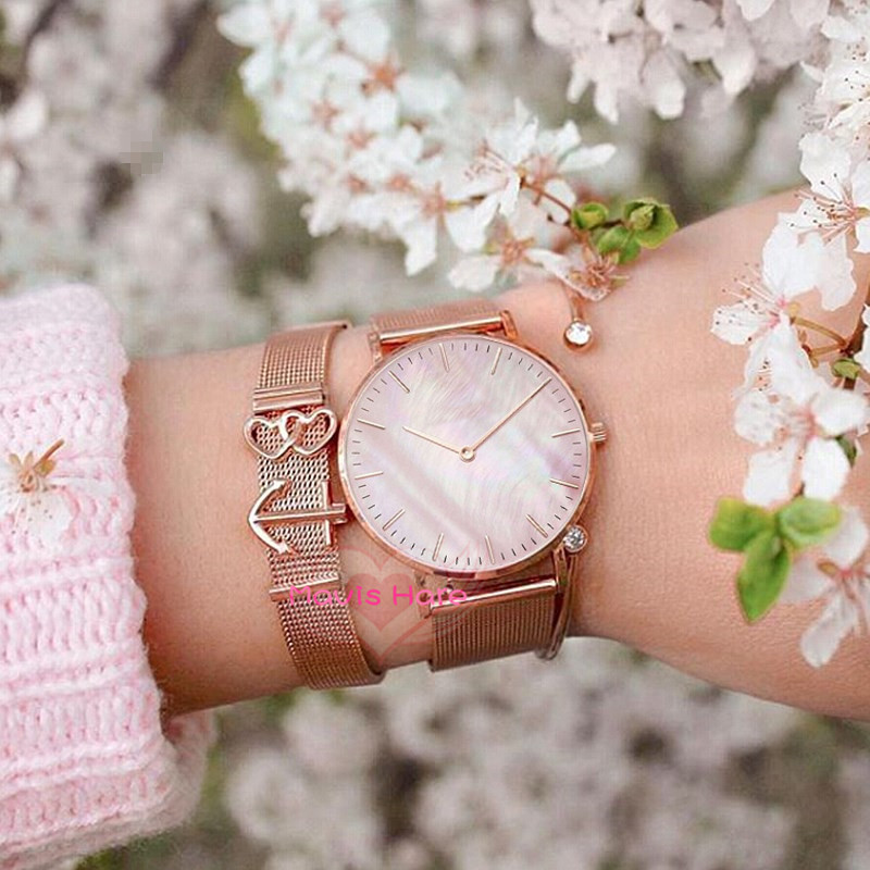 Mavis Hare Rose Gold Pink Seashell Mesh Charm Bracelet Set with Pearl dial Wristwatch and Crystal Cuff Bangle as gift
