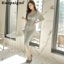 Plus Size Gray Off Shoulder Blazer Dress Women Sheath Office OL Work for with Sashes Corset Ladies Dresses