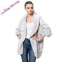 2017 Fashion Oversized Fleece Warm Cardigan Women Two-Tone Poncho Capes Batwing Open Front Poncho Shrug Cardigan With Hood